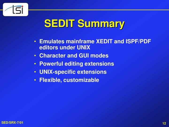 SEDIT Summary