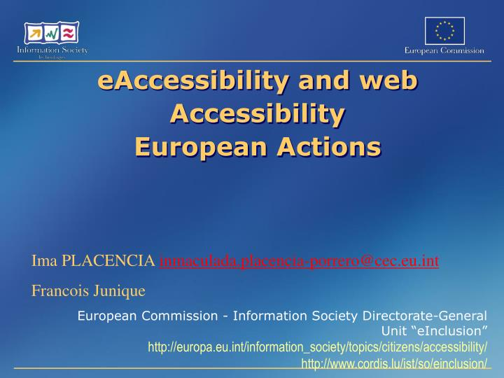 eaccessibility and web accessibility european actions n.