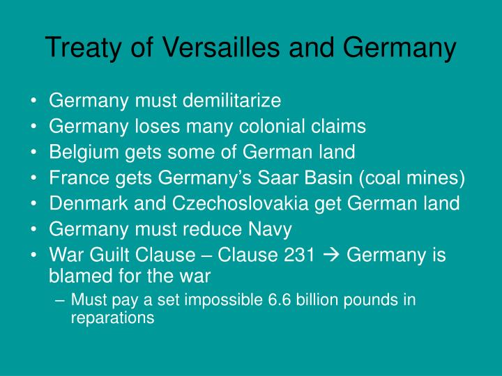 Treaty of Versailles and Germany