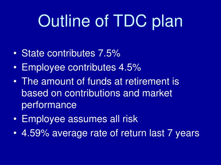 Outline of tdc plan