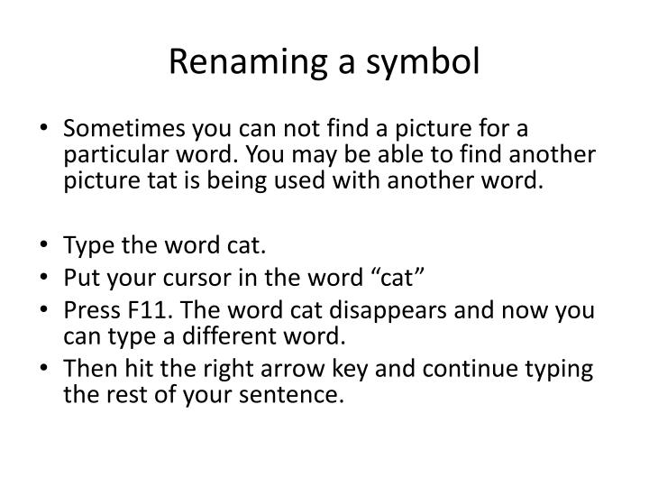 Renaming a symbol