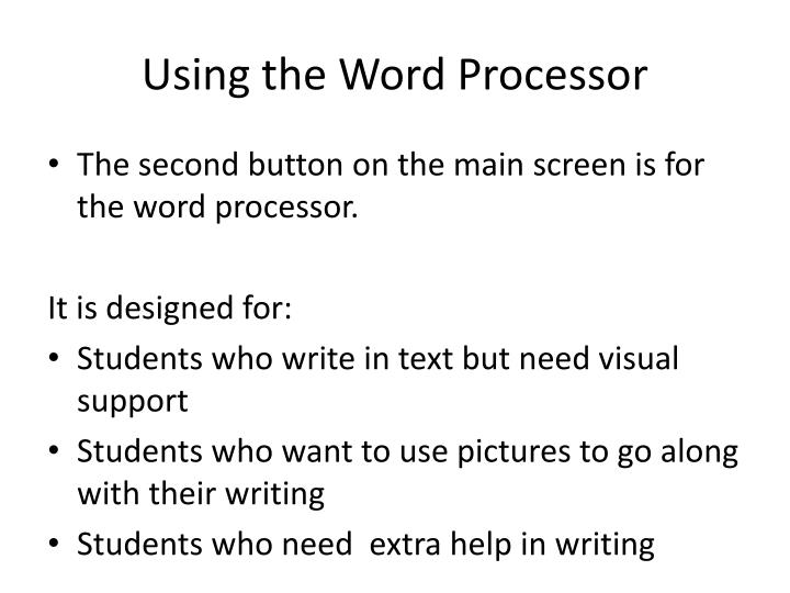 Using the Word Processor