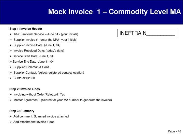 Mock Invoice  1 – Commodity Level MA