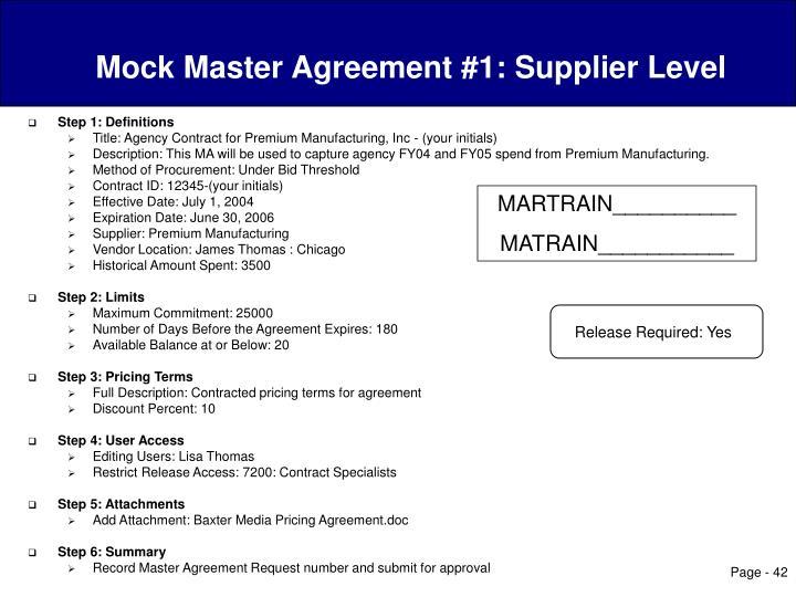 Mock Master Agreement #1: Supplier Level
