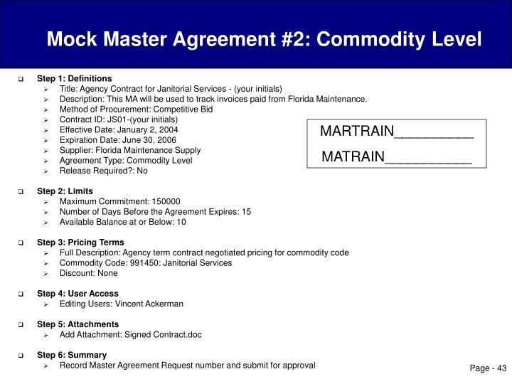 Mock Master Agreement #2: Commodity Level