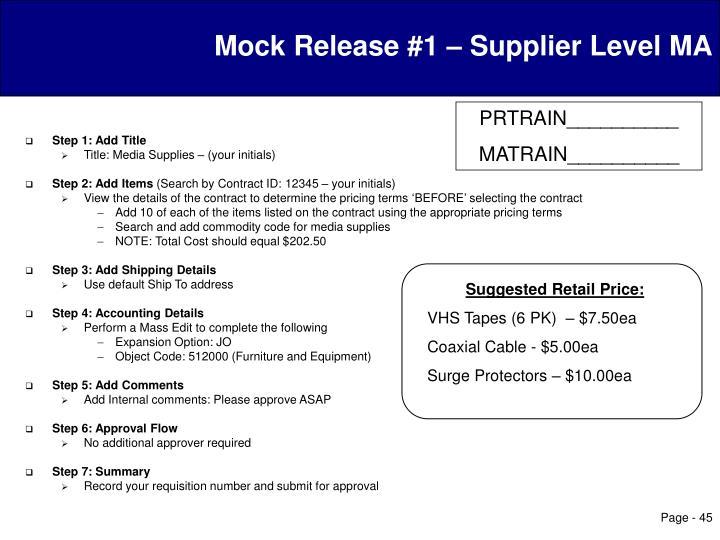 Mock Release #1 – Supplier Level MA