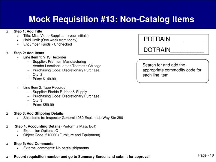 Mock Requisition #13: Non-Catalog Items