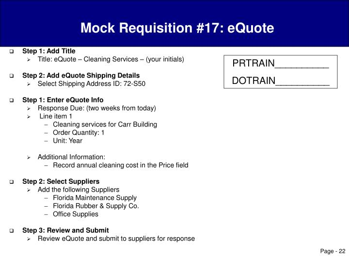 Mock Requisition #17: eQuote