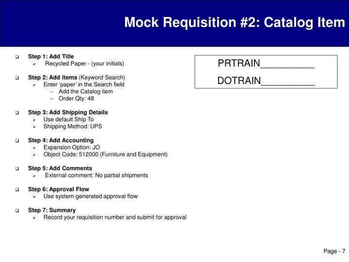 Mock Requisition #2: Catalog Item
