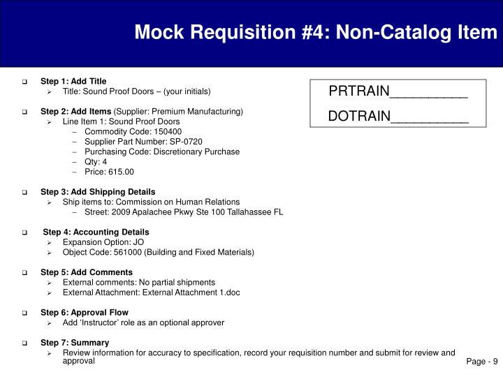 Mock Requisition #4: Non-Catalog Item