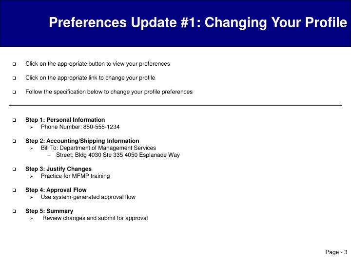 Preferences update 1 changing your profile