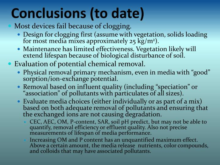 Conclusions (to date)