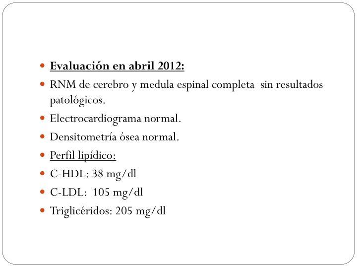 Evaluación en abril 2012: