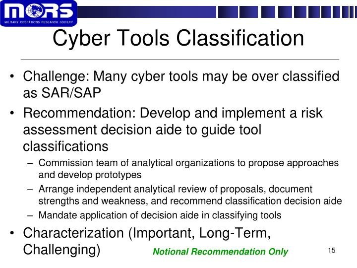 Cyber Tools Classification
