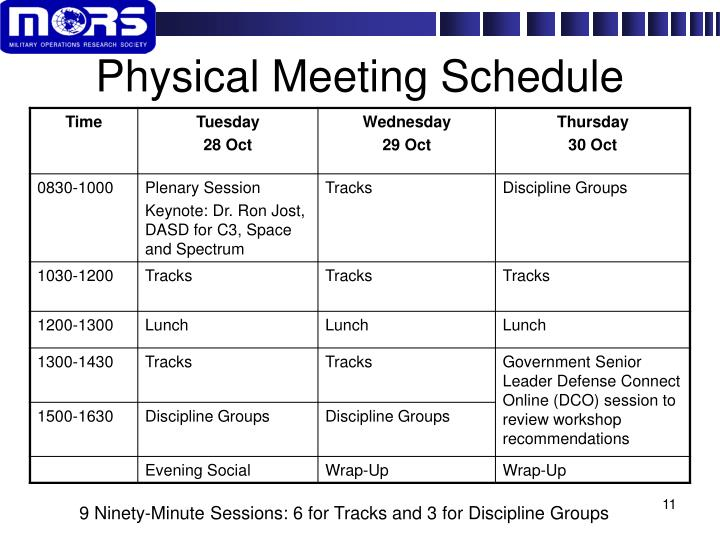 Physical Meeting Schedule