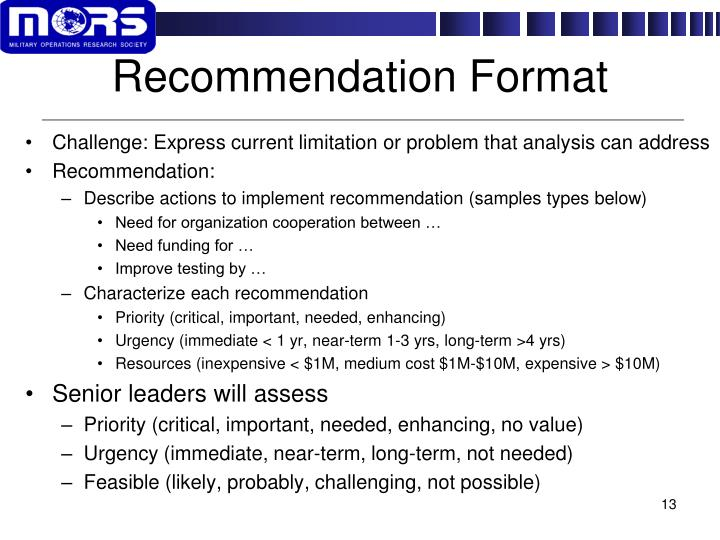 Recommendation Format