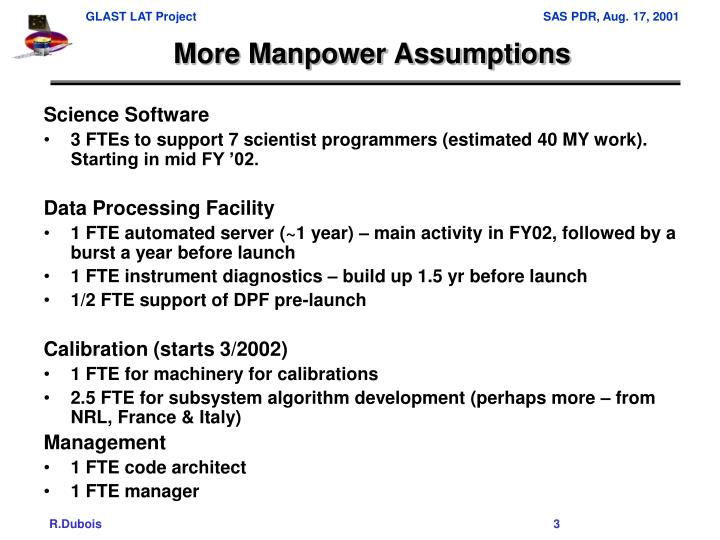 More manpower assumptions
