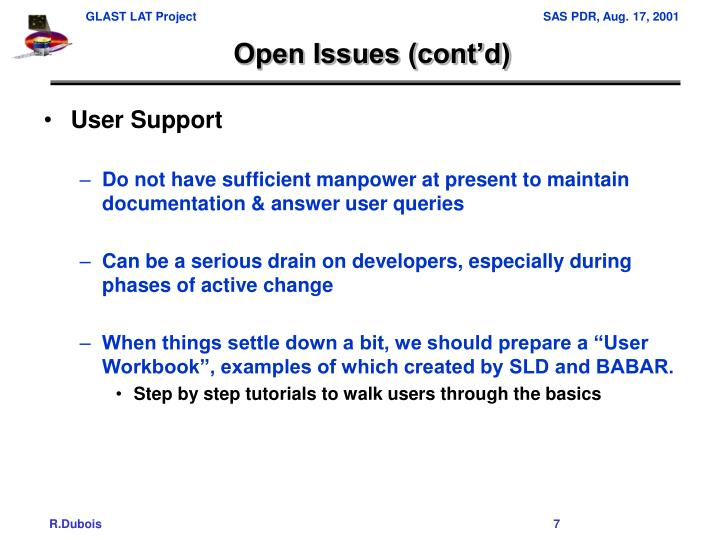 Open Issues (cont'd)