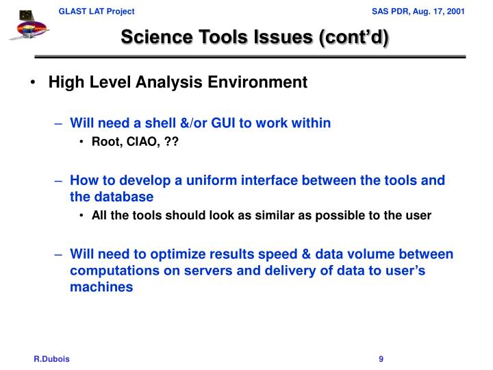Science Tools Issues (cont'd)