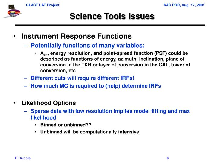 Science Tools Issues