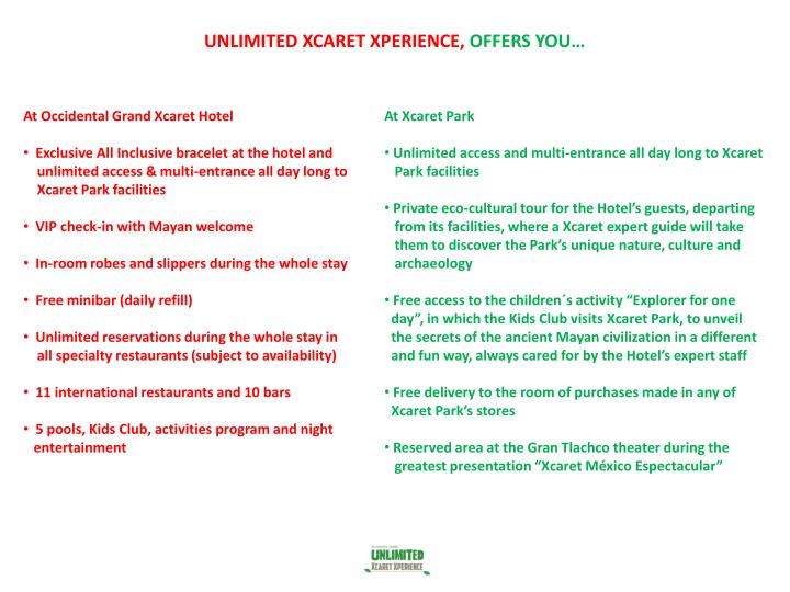 Unlimited xcaret xperience offers you