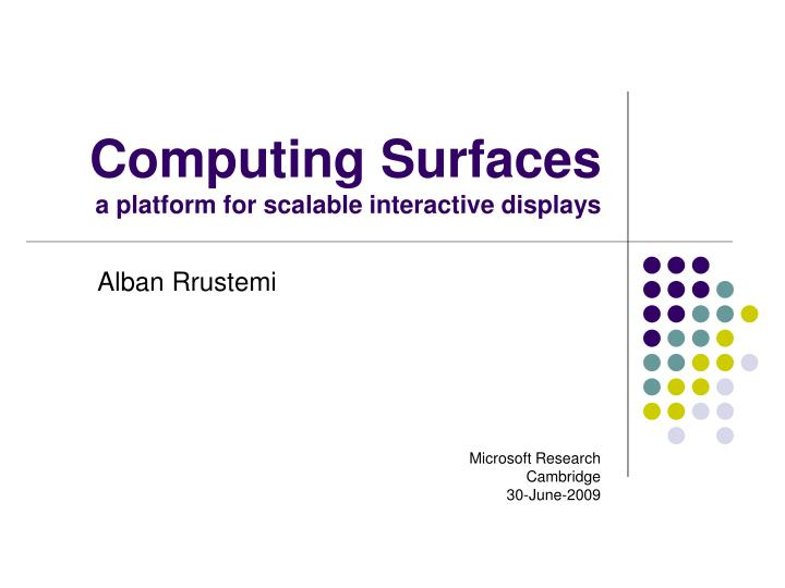 computing surfaces a platform for scalable interactive displays n.