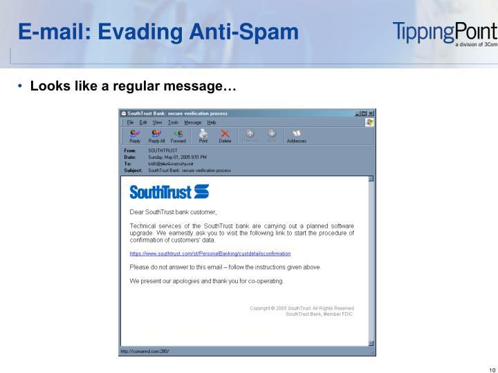 E-mail: Evading Anti-Spam