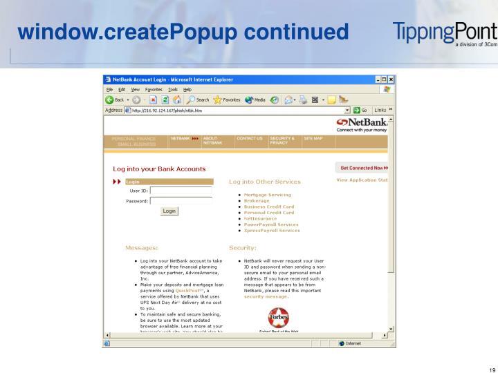 window.createPopup continued