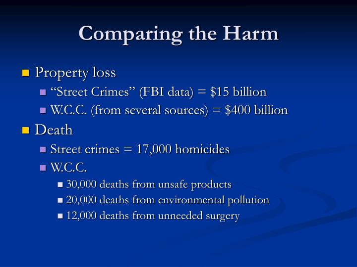 Comparing the Harm