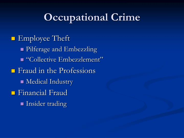 Occupational Crime