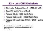 e2 less ghg emissions