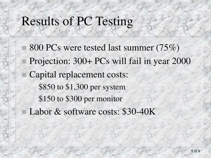 Results of PC Testing