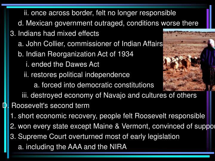 ii. once across border, felt no longer responsible