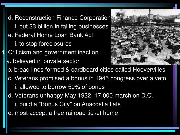 d. Reconstruction Finance Corporation