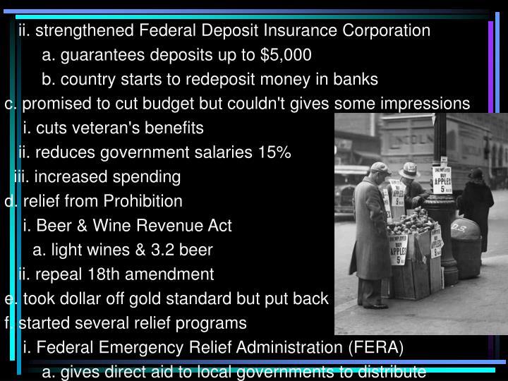 ii. strengthened Federal Deposit Insurance Corporation