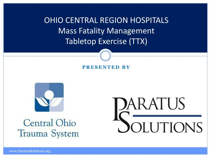 ohio central region hospitals mass fatality management tabletop exercise ttx
