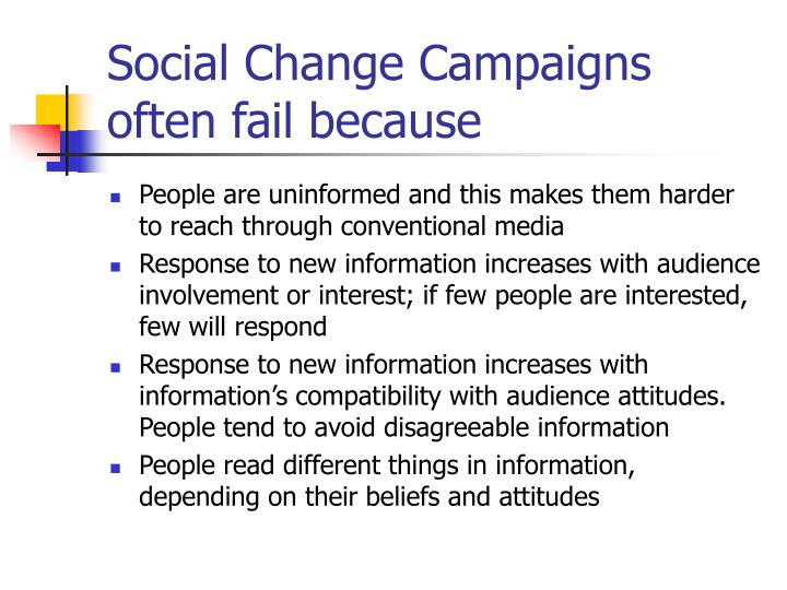Social Change Campaigns often fail because