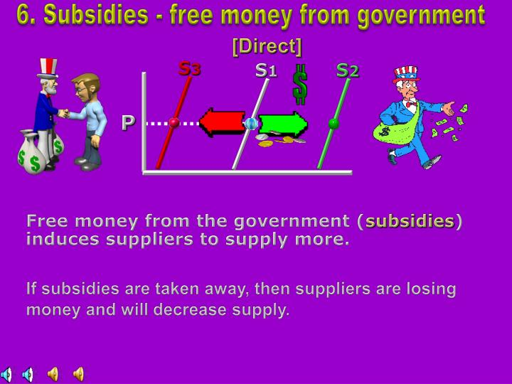 6. Subsidies - free money from government