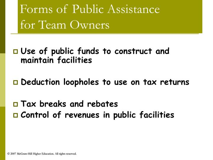Forms of Public Assistance