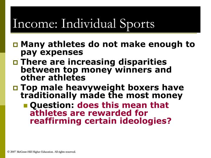 Income: Individual Sports