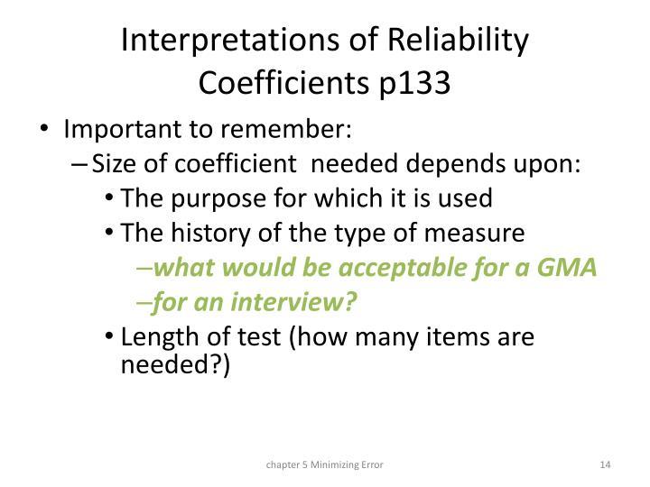 Interpretations of Reliability Coefficients p133