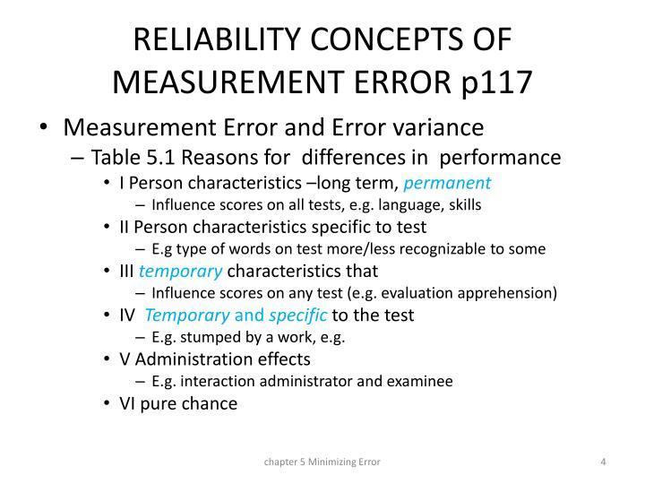 RELIABILITY CONCEPTS OF MEASUREMENT ERROR p117