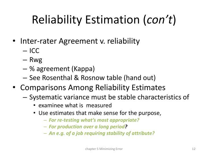 Reliability Estimation (