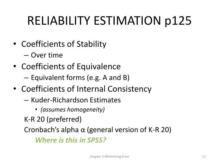 RELIABILITY ESTIMATION p125