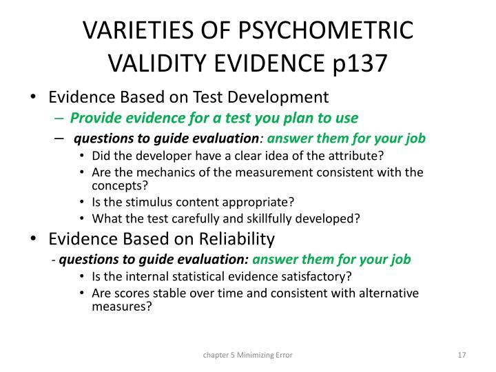VARIETIES OF PSYCHOMETRIC VALIDITY EVIDENCE p137