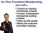 as vice president membership you will