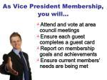 as vice president membership you will1