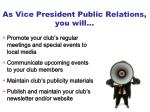 as vice president public relations you will