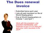 the dues renewal invoice
