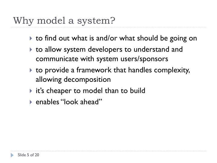 Why model a system?